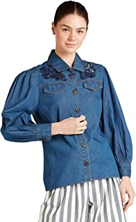 Iconic Women's 2091054 SS23EMBDNMSH Woven Body Blouse, Navy