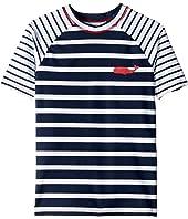 Nautical Stripes Short Sleeve Rashguard (Toddler/Little Kids/Big Kids)