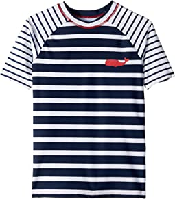 Nautical Stripes Short Sleeve Rashguard (Toddler/Little Kids/Big Kids)