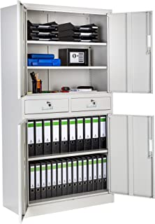 TecTake 402484 Armoire de Bureau Metallique avec 4 Portes battantes et 2 tiroirs verrouillable 180x90x40cm, Gris
