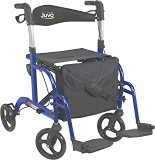 Juvo Convertible Rollator-Transport Chair, 250-Pound Capacity, Metallic Blue (TCH102)