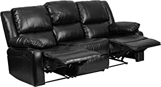 Flash Furniture Harmony Series Black Leather Sofa with Two Built-In Recliners