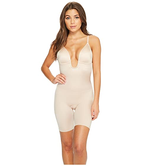 5c5248a23a80b Spanx Suit Your Fancy Plunge Low-Back Mid-Thigh Bodysuit at Zappos.com