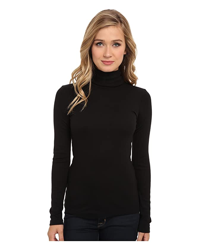 Splendid  1x1 Classic Long Sleeve Turtleneck (Black) Womens Long Sleeve Pullover