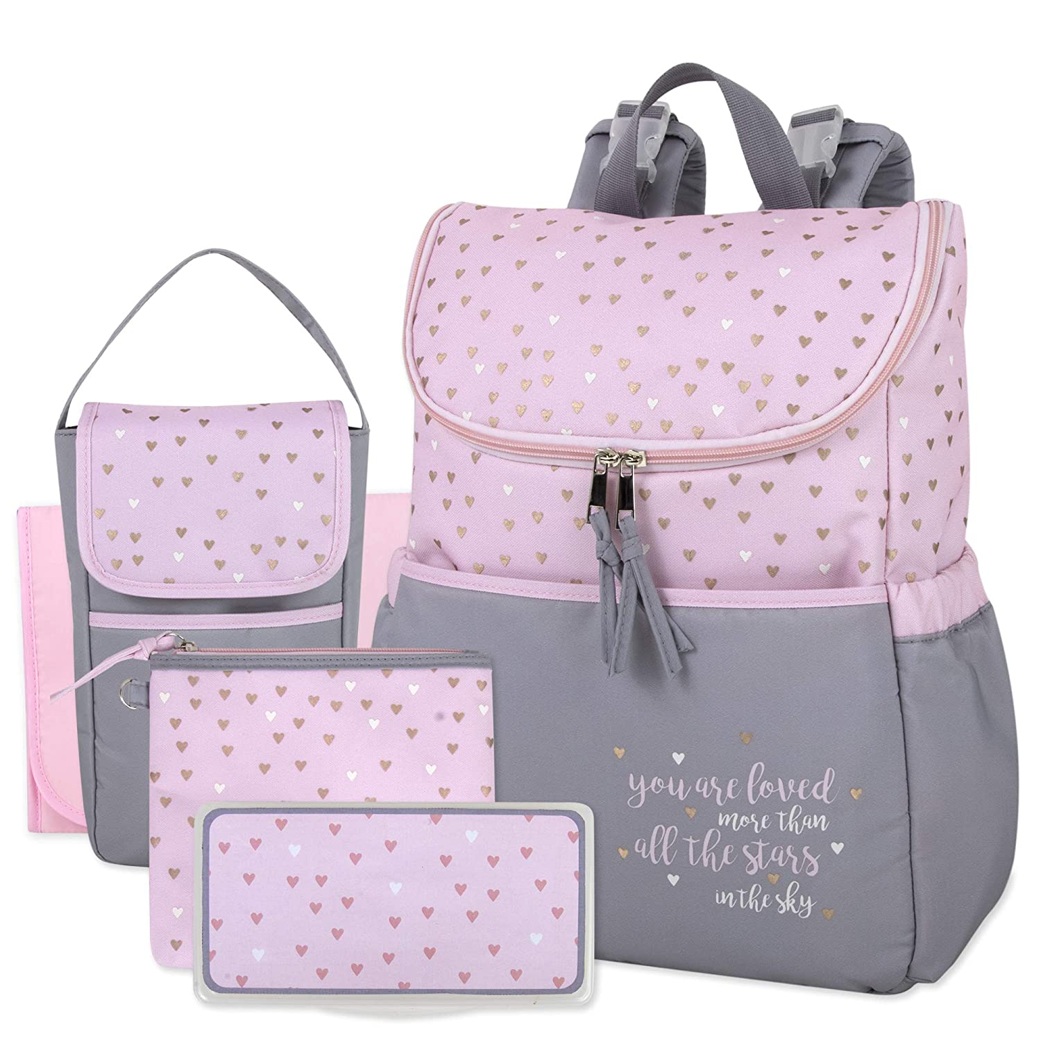 Diaper Bag Backpack 5 Piece Set with Sun, Moon, and Stars, Wipes Pocket, Stroller Straps, Dirty Diaper Pouch, Changing Pad (Grey/Pink Backpack)