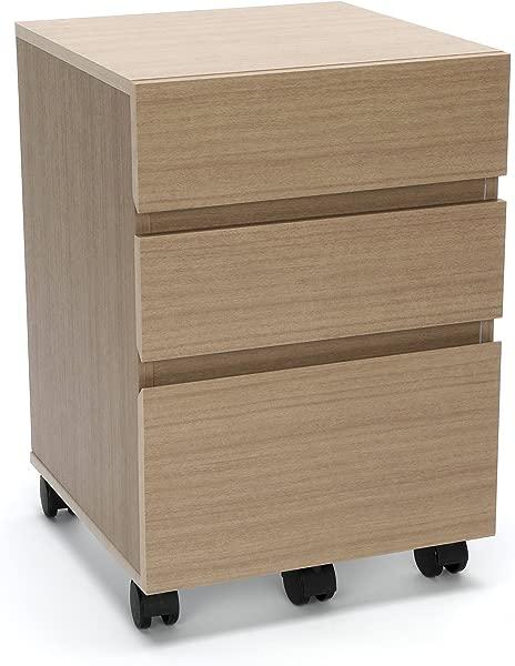 Essentials Essentials File Cabinet 3 Drawer Wheeled Mobile Pedestal Cabinet Harvest ESS 1030 HVT