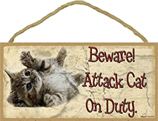 Beware Attack Cat on Duty Rolling Kitten Cat Sign Plaque 5