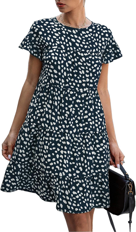Angashion Women's Summer Tunic Dress Round Neck Short Sleeve Ruffle Casual Loose Flowy Babydoll Swing Mini Shift Dresses