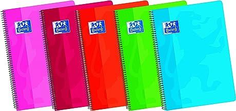 Oxford Classic 100430601 Cuaderno espiral de tapa blanda, 80 Hojas, Colores surtidos, Formato 4º, Paquete de 5