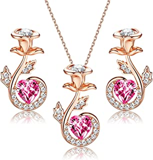 Sllaiss 18K Rose Gold Rose Flower Necklace and Earrings Jewelry Set for Women Made with Swarovski Crystal,Jewelry for Wome...