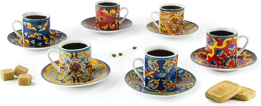 Excelsa trinacria, set di 6 tazzine da caffè con piattino,  in porcellana decorata