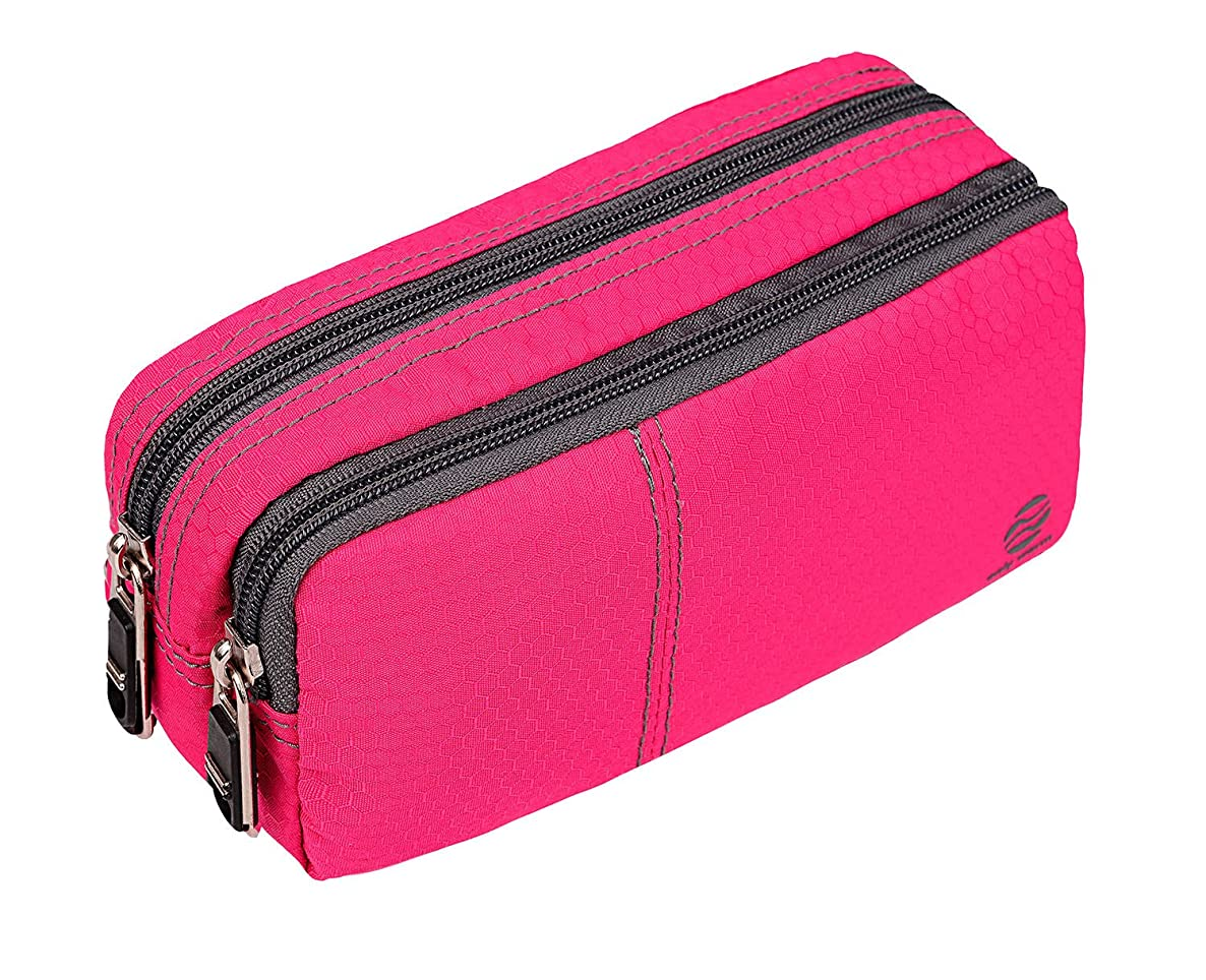 Large Pencil Case Office Supplies - Durable Student Office Pen Holder Organizer Stationary Bag with Double Zippers Multi Big Capacity Compartments for Adults Girls Boys (Fuscia-Upgrade)