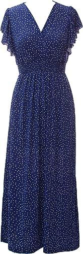 Plum Feathers Exotic Print Smocked Waist Maxi Dress Plus & Regular Sizes