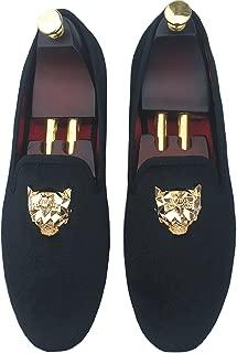 Men's Black Velvet Loafers Slip-on Dress Shoes with Gold Buckle Slippers Flats