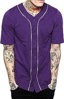 Mens Baseball Button Down Jersey Hipster Hip Hop T Shirts