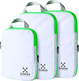 Compression Travel Packing Cubes for Travel by Evolve (White/Marine, Three Pack)