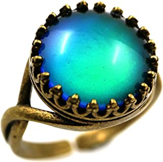 Vintage Style Round Cabochon Crown Women Color Change Mood Ring Adjustable Emotion Ring