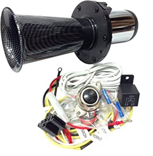OEMLINK International LTD OOGA Horn Carbon Antique Classic Car Hot Rod Oooga Ahooga with Installation Wire Kit and Button