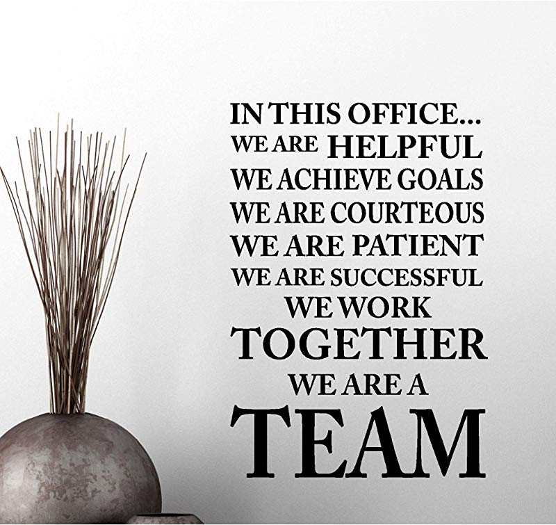 Simple Expressions Arts In This Office We Achieve Goals We Work We Are A Team Classroom Sport Football Cute Inspirational Family Love Vinyl Quote Saying Wall Art Lettering Sign Room Decor