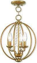 Livex Lighting 40913-48 Arabella 3 Light AGL Mini Chandelier/Flush Mount, Antique Gold Leaf