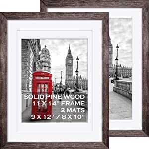 11x14 Rustic Picture Frames Solid Wood - Display Pictures 9x12 or 8x10 with Mat or 11x14 Frame without Mat - Farmhouse Wooden Photo Frame 11x14 inch with 2 Mats for Wall Mounting or Table Top , 2 Set