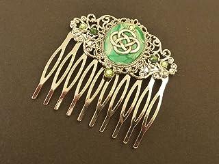 Pettine per capelli Irlanda con nodo celtico verde argento
