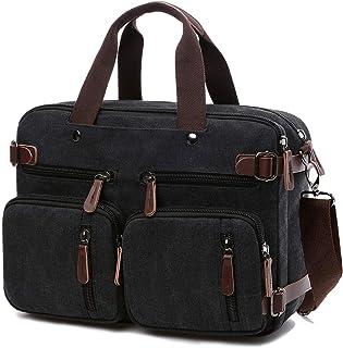 Convertible Laptop Backpack Messenger Bag for Men/Women,17.3 Inch Laptop Shoulder Bag Multicompartment Canvas Business Bri...