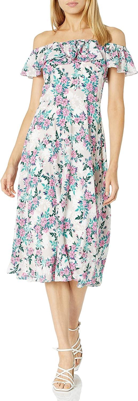 Betsey Johnson Women's Floral Pebble Crepe Off The Shoulder Midi Dress