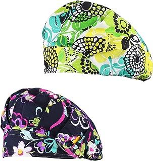 2 Pack Women's Adjustable Cotton Scrub Cap, Bouffant Hats with Sweatband, Multi Color
