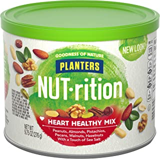 PLANTERS NUT-rition Heart Healthy Snack Nuts Mix, 9.75 oz Canister - On-the-Go Snack, Work Snack, School Snack and Active ...