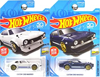 Hot Wheels 2018 Factory Fresh Ford Maverick in Blue and White Set of 2