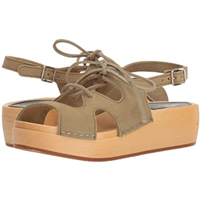 Swedish Hasbeens Lace-Up Sandal (Military Green Nubuck) Women