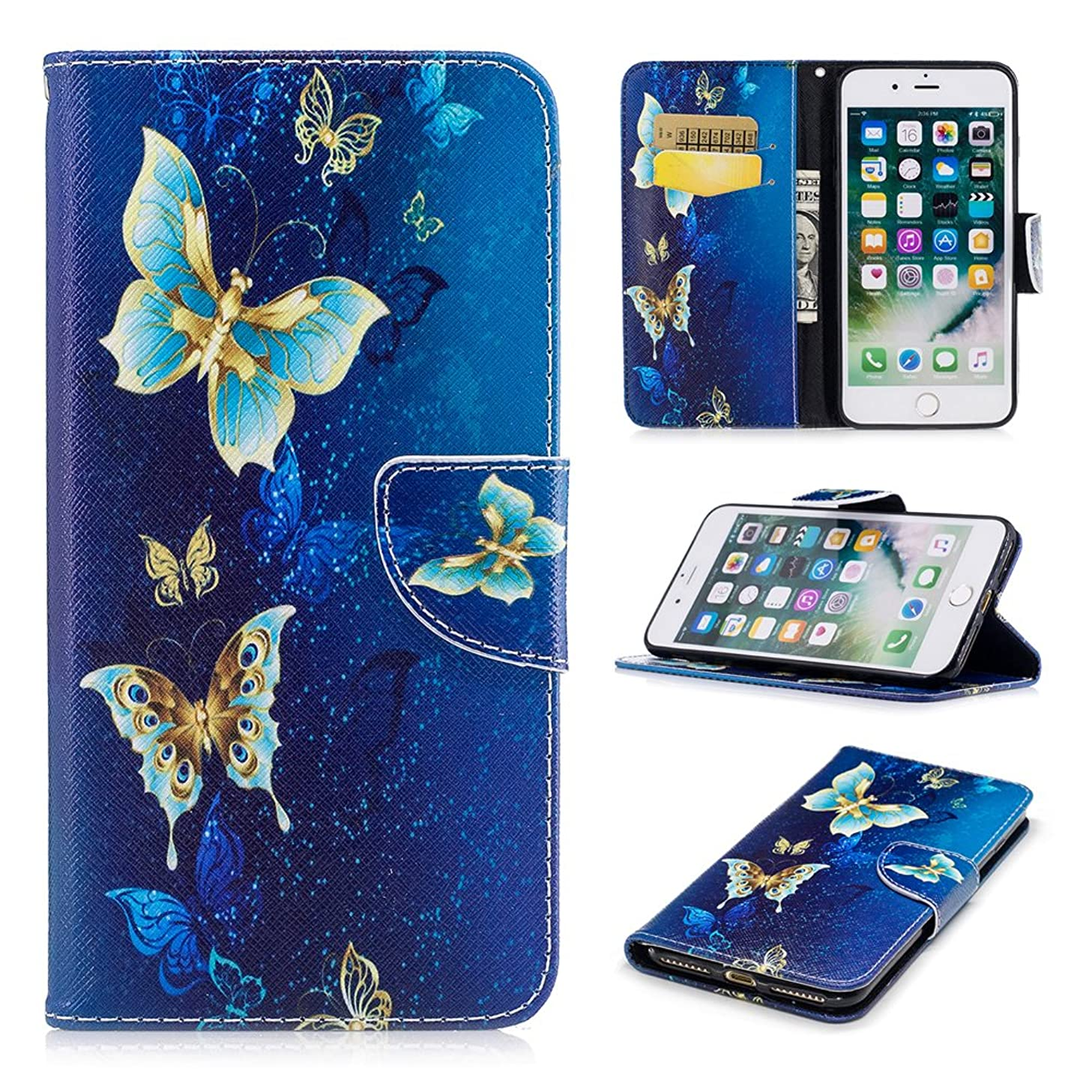 iPhone 8 Plus Case, iPhone 7 Plus Wallet Case PU Leather Folio Kickstand Colorful Painting Golden Butterfly Cover Slim-Fit Shockproof TPU Inner Bumper with Card Slots for iPhone 8 Plus, iPhone 7 Plus