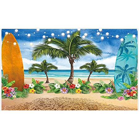 Print of Tropical Palm Leaves Flora Scene Hawaiian Backdrop for Selfie Birthday Party Pictures Photo Dance Decor Wedding Studio Background AM033095 ALUONI 5x3ft Vintage Palm
