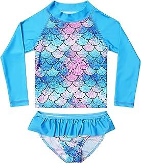 2-Piece Rash Guard Swimwear Girls Long Sleeve Mermaid Swimsuits Blue Beach Shirt