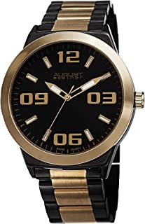 August Steiner Men's Swiss Quartz Watch - Large Luminescent Numerals and Hour Markers on Stainless Steel Bracelet - AS8134