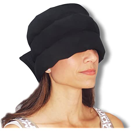 HEADACHE HAT The Original - Wearable Flexible Three Row Ice Pack for Migraines & Tension Headaches Eye Mask Long Lasting Cooling No Mess Ice Therapy Stress Relief Tension Relief Standard Size (Black)