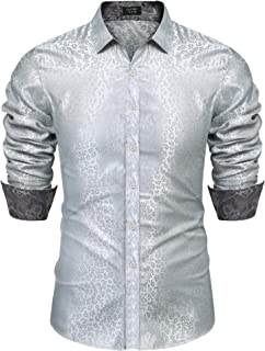 Mens Satin Silk Luxury Shiny Paisley Dress Shirt for Prom Wedding Party