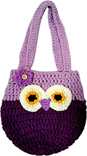 Life Space Cute Happy Owl Mini Purse / Handbag, Nature Soft Cotton/Milk Fiber, Crochet, Handmade - Great Special Present for 2,3,4,5,6 Year Preschool Girls (purple)