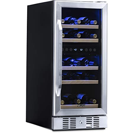 NewAir Slim Dual Zone Built-In Wine/ Beverage Cooler and Refrigerator, 29 Bottle Capacity Standing Fridge with Double-Layer Tempered Glass Door, AWR-290DB