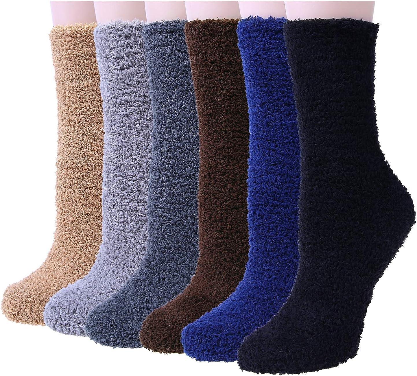 6 Pairs Women Fuzzy Fluffy Cozy Slipper Socks Warm Soft Winter Plush Home Sleeping Socks