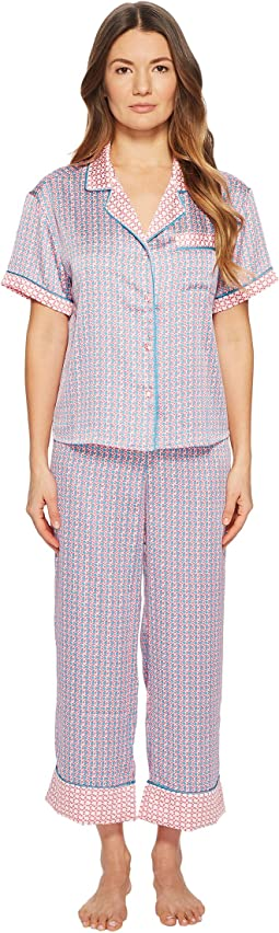 Geo Grid Cropped Pajama Set