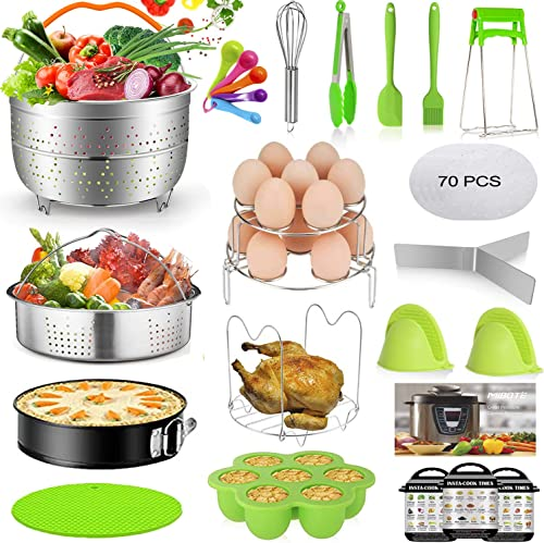 2021 Mibote lowest 93 Pcs Accessories Set for Instant Pot 5,6,8 Qt, 2 Steamer Baskets, Springform Pan, Egg Steamer Rack, Egg Bites Mold, Kitchen Tong, Silicone Pad, Oven Mitts, Cheat Sheet Magnet, and outlet online sale etc online sale