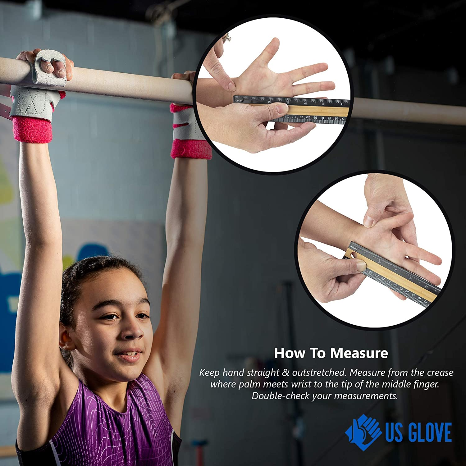 Youth to Adult Sizes Womens Gymnastics Grips Made in USA US Glove Women Regular Uneven Bar Grips