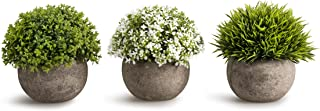 Opps Artificial Plastic Mini Plants Unique Fake Fresh Green Grass Flower in Gray Pot for..