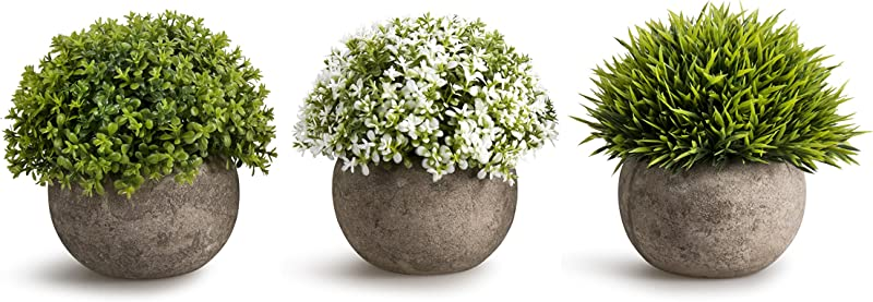 OPPS Artificial Plastic Mini Plants Unique Fake Fresh Green Grass Flower In Gray Pot For Home D Cor Set Of 3
