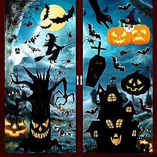 Vensterstickers voor Halloween, 147 stuks, Halloween, raamstickers, spin, pompoen, heks, geesten, raamstickers voor Hallow...