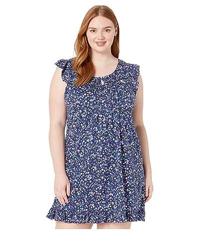 LAUREN Ralph Lauren Plus Size Cotton Rayon Jersey Knit Flutter Sleeve Flounce Gown (Navy Print) Women