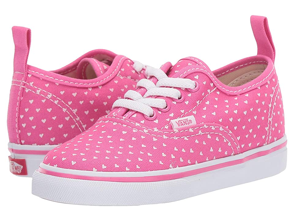 ed840537a7d Vans Kids Authentic Elastic Lace (Toddler) ((Hand Drawn Hearts) Carmine Rose