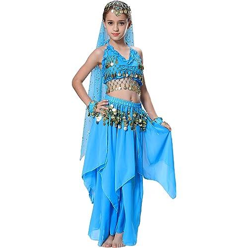 73a095ad842cb Seawhisper Kids Belly Dance Girls  Chiffon Paillettes Halter Top dress